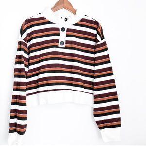 Tops - Comfy Striped Quarter Button Up Crop Sweatshirt